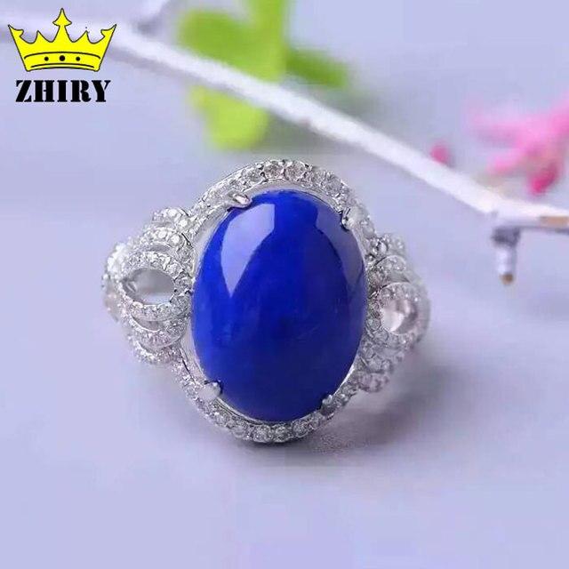 Естественный голубой Лазурит gem кольцо Подлинная камень Твердые стерлингового серебра 925 Женщины ювелирные изделия Леди большие кольца