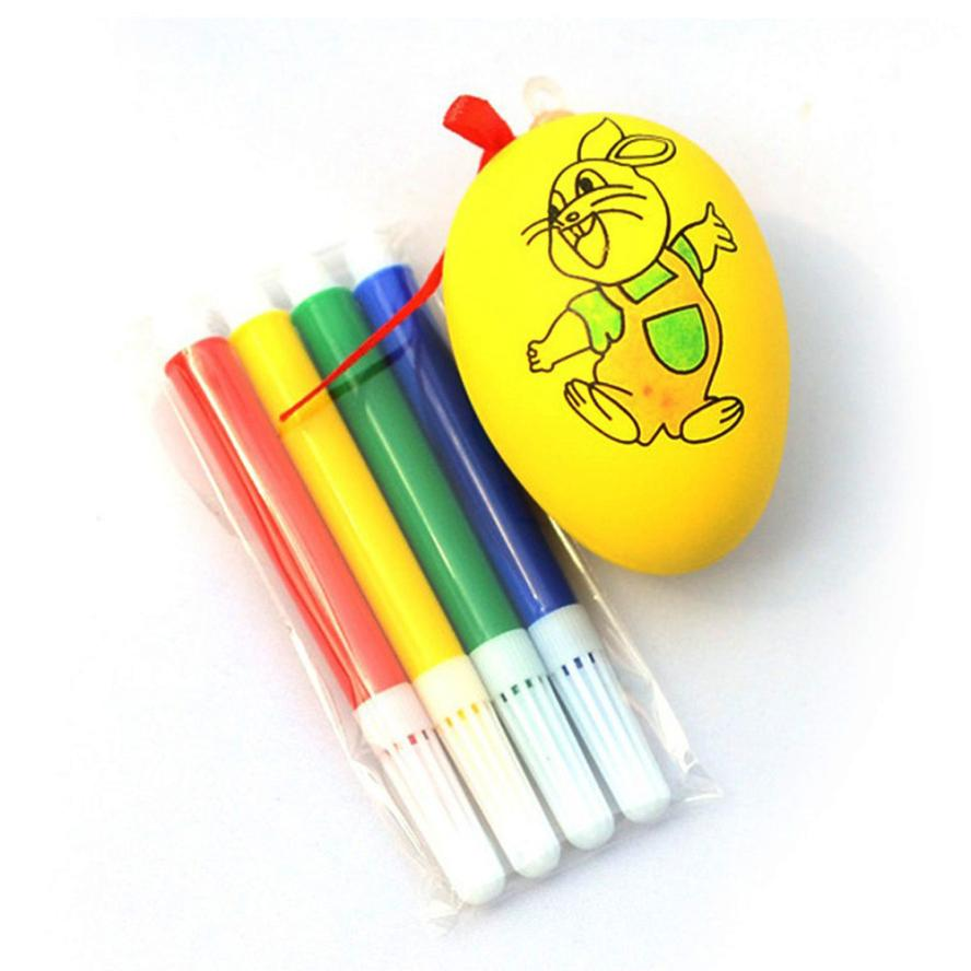 Water Color Pen & Egg Kids DIY Painting Color Egg Toy Easter Egg Education Toys Safe Non-toxic Water Interesting Toy Cherryb