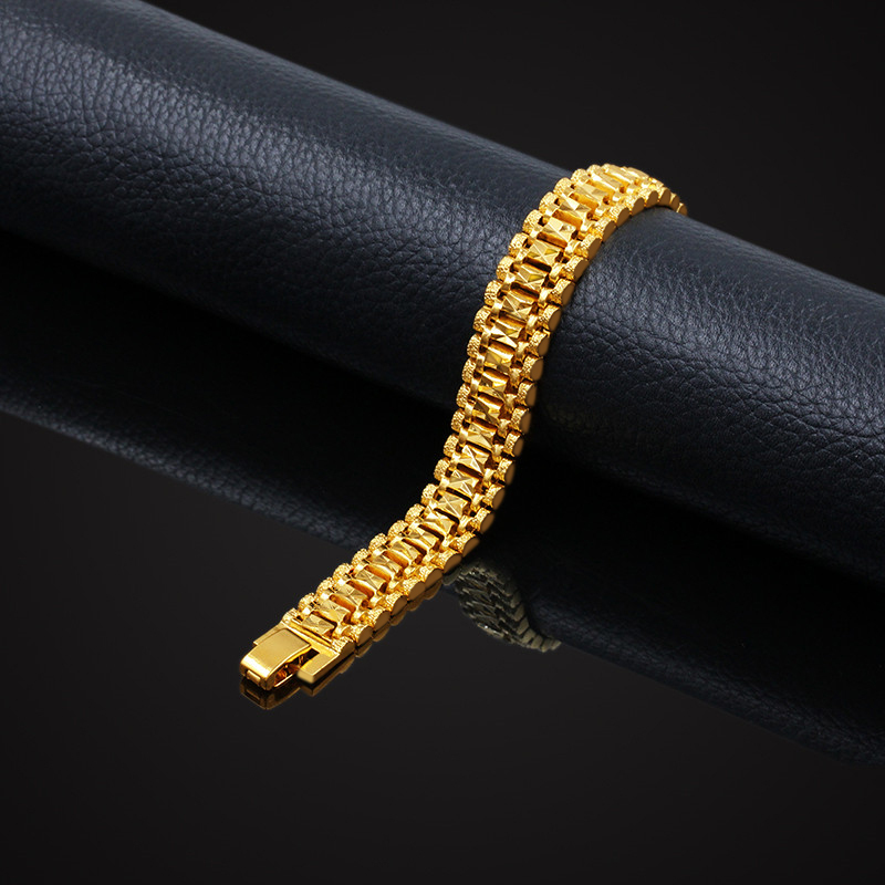 Male Bracelet Women Jewelry 12MM Pulseira Masculine Trendy Gold Color Chunky Chain Link Bracelet Wholesale Bileklik For Man P166 11