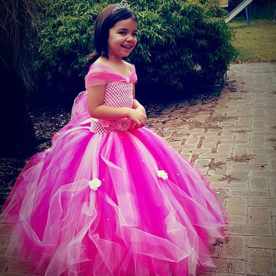 Beautiful Princess Tutu Gown for Weddings Birthday Dress Baby Girl Flower Tutu Dress Glittery Children Fancy Party Christmas Costumes (10)