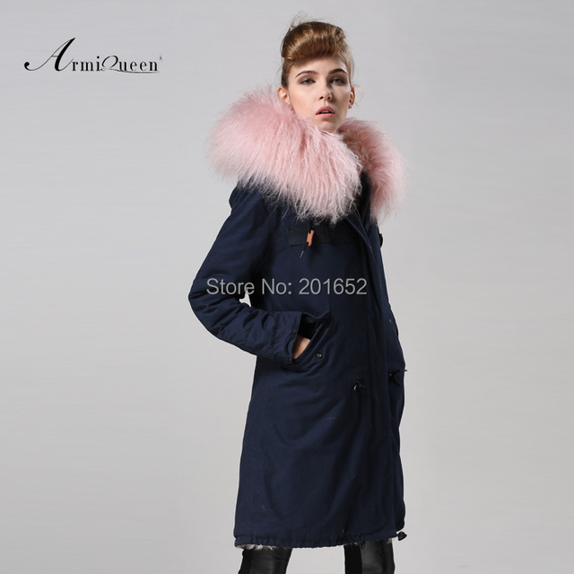 Free Shipping factory direct 1 Pc Winter Women Warm wool Fur Collar hooded long coat Jacket hoodie quilted Puffer blue mr parka 4