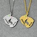 Индивидуальные Детские Ноги Ожерелье, камень Ожерелье, персонализированные Имена, детские Ноги Ювелирные Изделия, 925 Серебро Выгравированы Имя Ювелирных Изделий