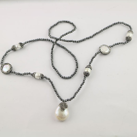 WT NV082 Fashion beads necklace design natural pearl round pearl necklace 3mm hematite beads charm necklace