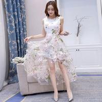 Elegant Ladies Cute Princess White Dress European Root Yarn A Line Sleeveless Tank Dress Front Short
