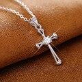 Envío Libre de Plata de Ley 925 diamantes de Imitación De Circonio Colgante Cruz Collar de La Joyería de La Manera Mujeres de Calidad Superior de Los Hombres Collares