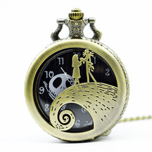 De Night Before Christmas Quartz Zakhorloge Jack en Sally Ontwerp Ketting Horloge Mens Womens Xmas Gift(China)