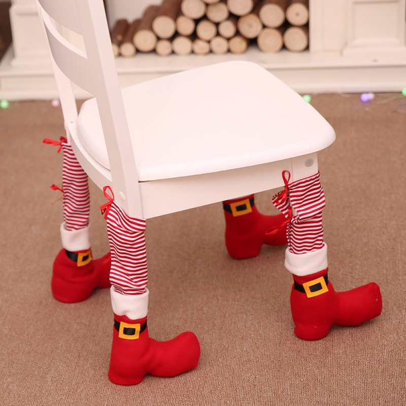 Christmas Table Leg Covers Chair Leg Foot Cover Table Decoration For Party Dinner Christmas 2019 New Drop Shipping