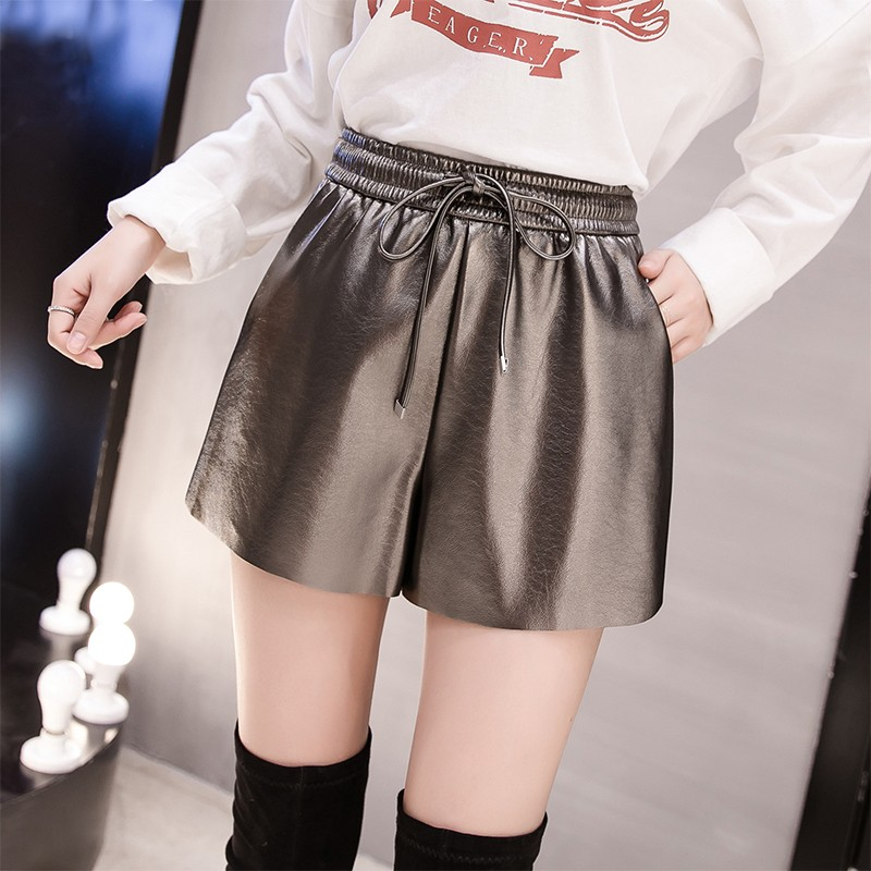 8a6758bdeab High Quality 2018 New Womens Winter PU leather Black Shorts Elastic Waist  Female Celebrity Loose Fashion
