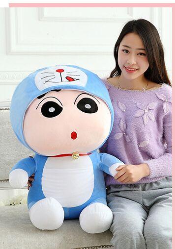 anime figure large 80cm Crayon Shin-chan turned to doraemon plush toy doll throw pillow ,birthday gift w5181