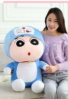 anime figure large 80cm Crayon Shin chan turned to doraemon plush toy doll throw pillow ,birthday gift w5181