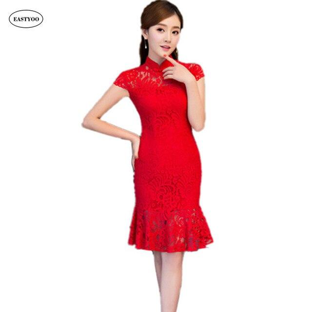 Red Mermaid Cheongsam Red Lace Wedding Dress Plus Size Cheongsam ...