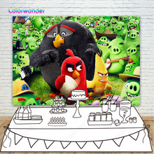 Black Red Yelow Birds Photo Backdrop Dense Green Pigs Photography Backgrounds For Kids Birthday Decoration Phtocall Photobooth(China)