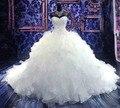 Роскошные 2017 Свадебные Платья Кристаллы Бальное платье Милая Органзы Свадебное Платье Свадебное Платье Свадебное Платье Vestido Де Noiva