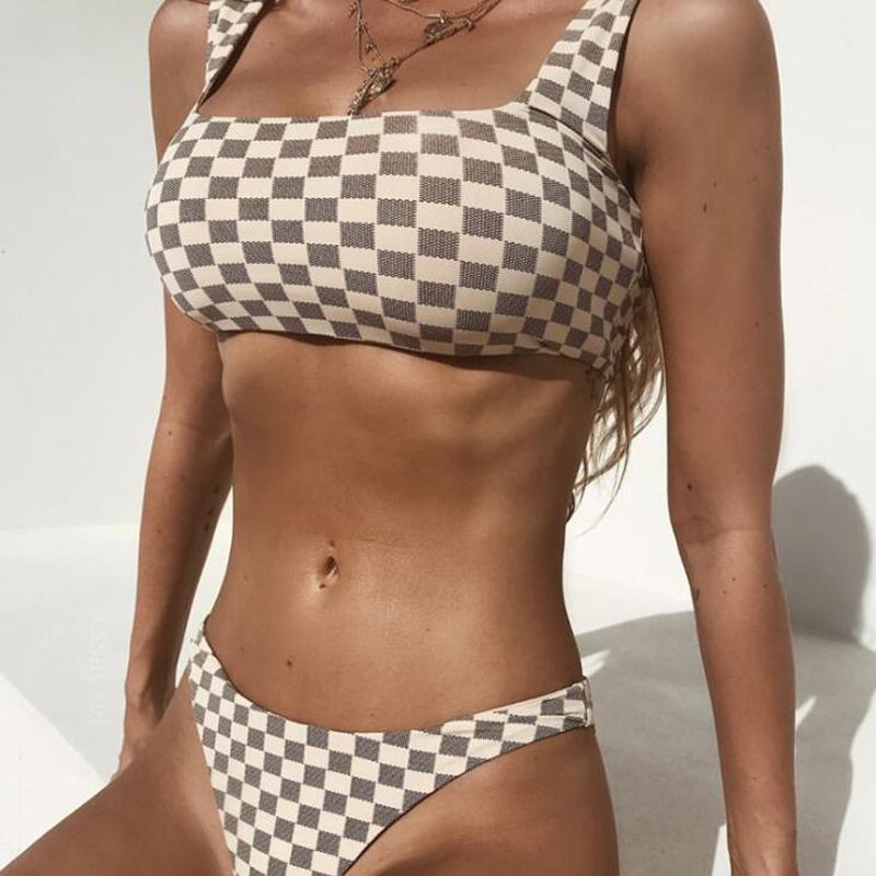 2018 Summer sexy swimwear Swimsuit Monokini plaid Bikini Women Beachwear Low Waist M25 in Bikinis Set from Sports Entertainment