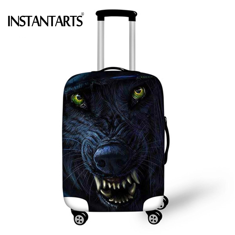 INSTANTARTS Cool Animal Wolf Print Luggage Waterproof Covers Apply to 18-30 Inch Suitcase Travel Accessories Trolley Case Cover ...