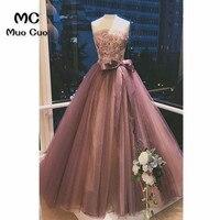 2018 Strapless Prom Dresses Long vestido de festa Ball Gown Lace Up Appliques Ribbons Tulle Floor Length Women's Prom Dress