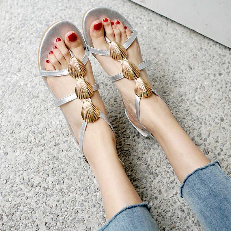 Gran tamaño 34-48 sandalias nuevas mujeres flip-flop verano negro plata casual playa Sandalias planas al por mayor
