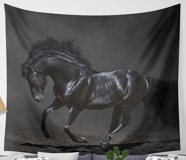 CAMMITEVER Black White Horses Animal Tapestry Home Decor Mural Yoga Rug Durable Polyester Wall Hanging