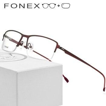 Titanium Alloy Optical Frame Men Semi Rimless Half Square Myopia Eye Male Screwless Eyewear Prescription Glasses