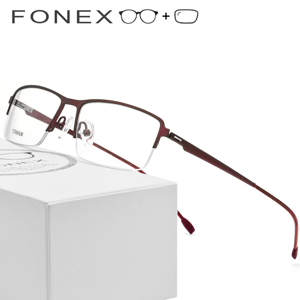 Titanium Optical Frame Men Semi Rimless Half Square Myopia Eye Male Korean Screwless Eyewear Prescription Glasses with Lenses