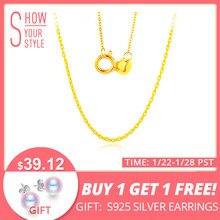 bad4ad07114a DAIMI blanco 18 K oro amarillo cadena de oro puro collar cadena luz cadena  collar de oro