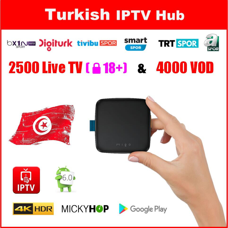 US $169 99 |Turkish IPTV BOX 2500 Live TV 4000 VOD 4K Ultra HD Migo TV BOX  with Mickyhop OS Android GooglePlay-in Set-top Boxes from Consumer