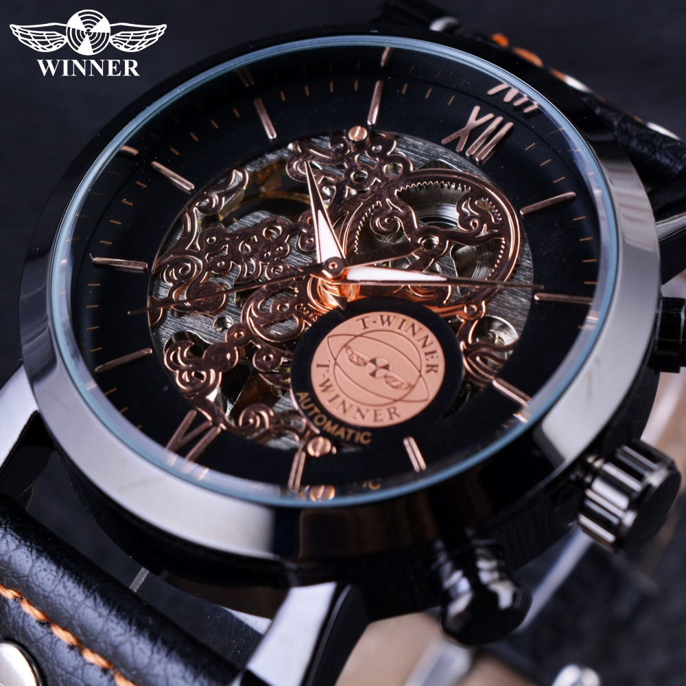 Winner Black Bezel Fashion Clouds Hollow Skeleton Watch Genuine Leather Strap Mechanical Automatic Mens Watch Top Brand Luxury t winner automatic watch mens trendy mechanical auto windding silicone band wristwatches modern elegant analog hollow clock gift