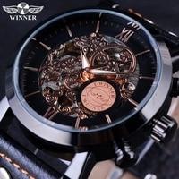 Winner Black Bezel Fashion Clouds Hollow Skeleton Watch Genuine Leather Strap Mechanical Automatic Mens Watch Top Brand Luxury