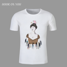 Illustration lady t-shirt Printed women men modal short sleeve top tee funny girl t shirt for male brand cloth free shipping