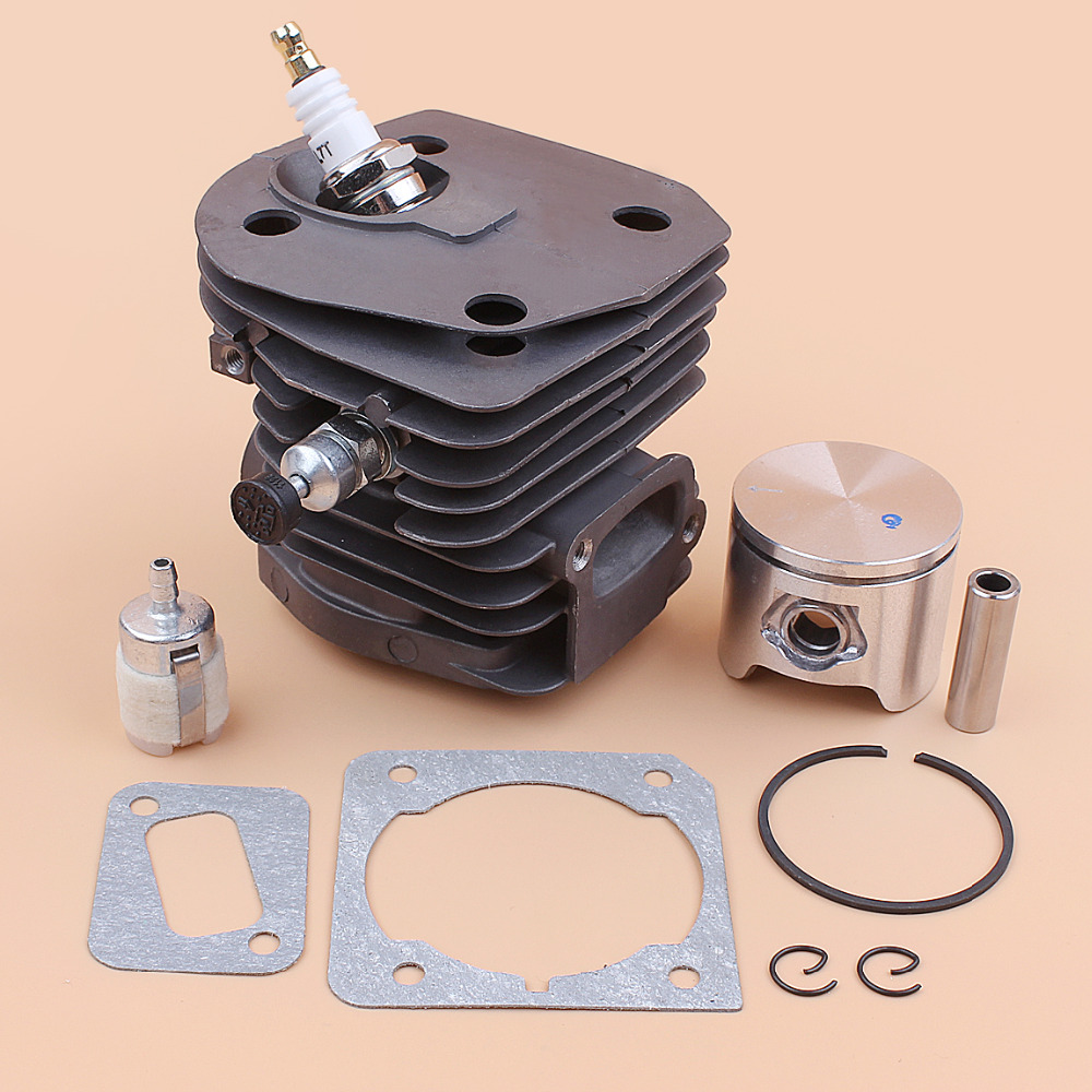 44mm Nikasil Plate Cylinder Piston gasket Decompression Valve For HUSQVARNA 350 351 353 346 XP 346XP Chainsaw Engine Motor Parts nikasil cylinder piston kit 45mm big bore fits husqvarna 353 351 350 346xp epa 345 340 chainsaw decompression valve fuel filter