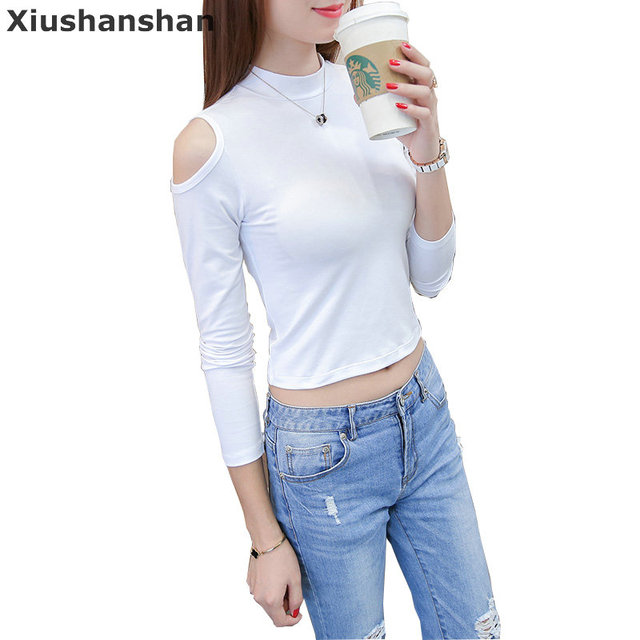 3098bde2a7a4 Xiushanshan Turtleneck Blank Cotton T Shirt Long Sleeve Plain White Tee  Shirt 3 Colors Womens Off The Shoulder T Shirts 248