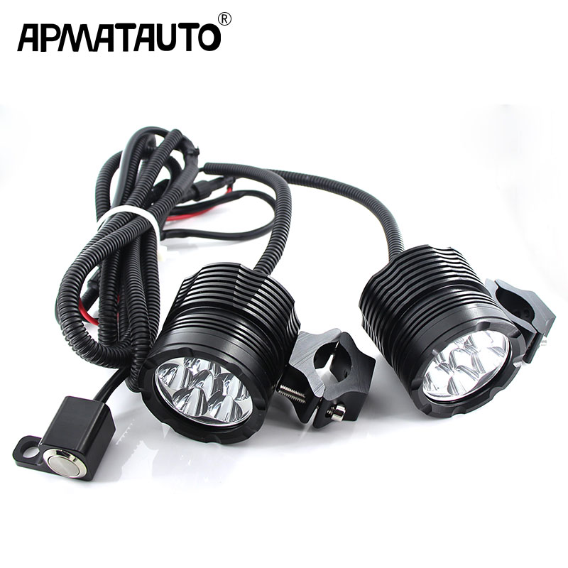цена на 2X Plug&Play Motorcycle Headlights 18000LM 12V FOR XML-T6 chips Moto led Driving Spotlights Motorcycle headlamp spot head lights