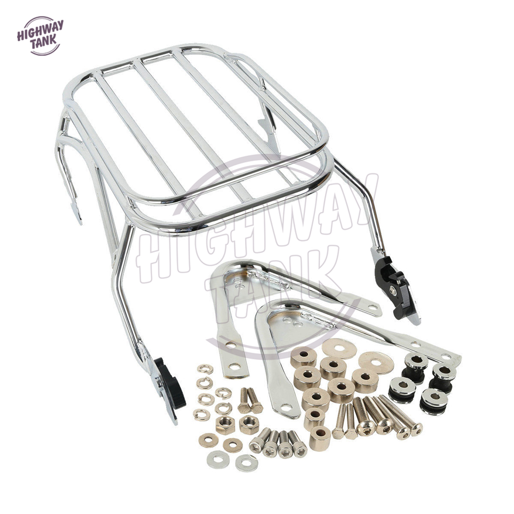 Chrome Motorcycle Detachable Luggage Rack & Docking Hardware Kit Case for Harley Touring Road King Street Glide 1997-2008 motorcycle chrome luggage rack for harley touring road king street glide cvo road glide street electra glide flhr 2009 2017 16