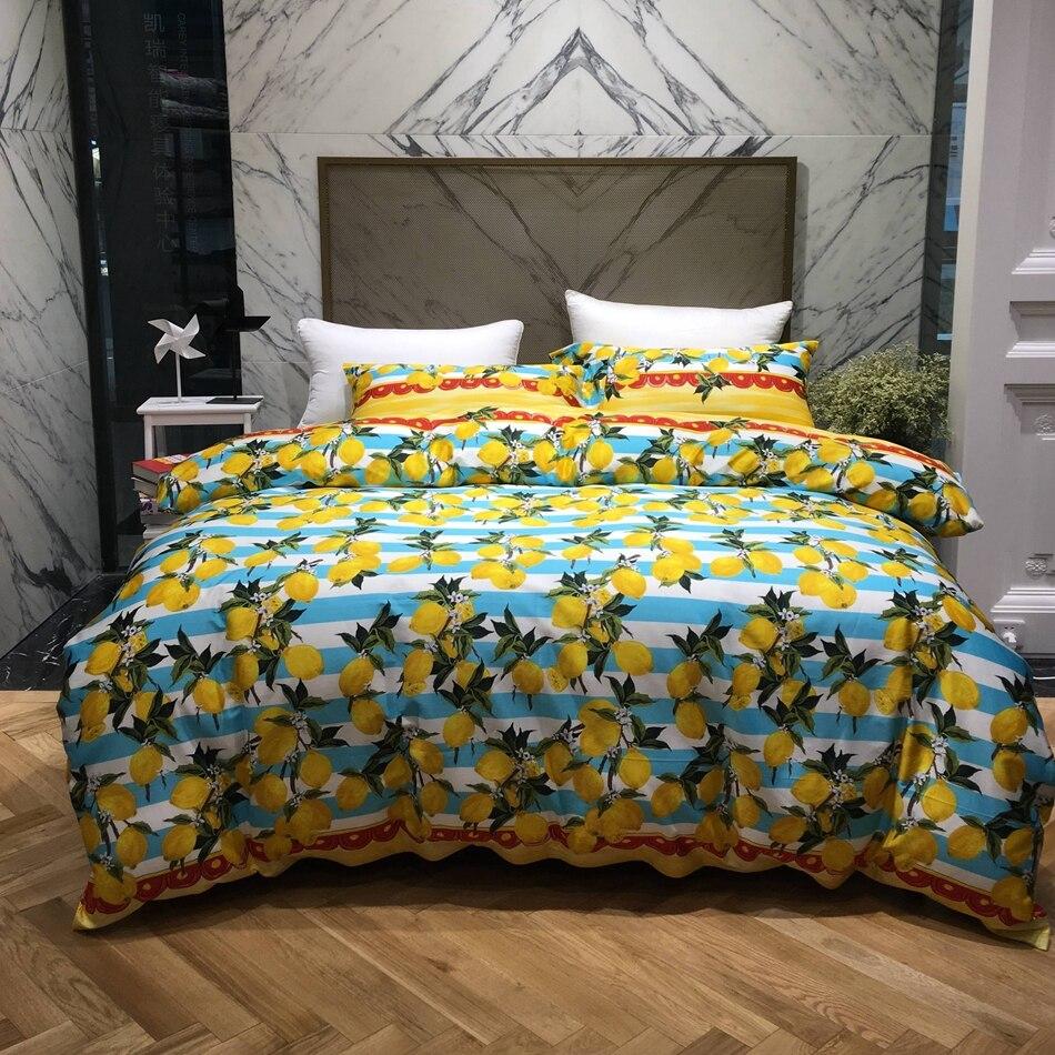 online get cheap bright bedding sets aliexpresscom  alibaba group - bright yellow lemon designer bedding egyptian cotton bedding set queen kingsize pastoral style duvet cover