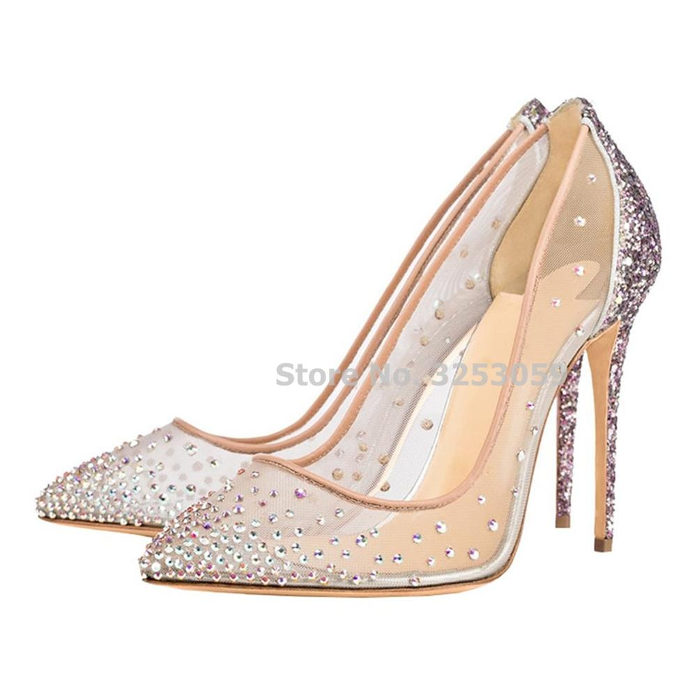 ALMUDENA Ladies Fantastic Bling Bling Crystal Wedding Shoes See Through Mesh Sequined Patchwork Pumps Glittering Banquet Shoes black see through stripe mesh bodysuit teddy
