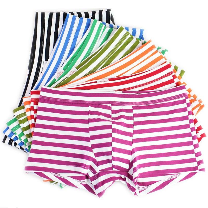 Wholesale 7Pcs/Lot Men's Striped Boxers Cotton Breathable Underwear Sexy Mens Bulge Pouch Boxer Shorts Trunks Stripes Underpants