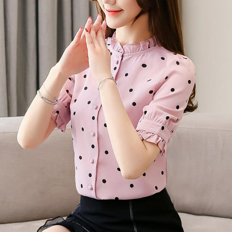 Women Spring Summer Style   Blouses     Shirts   Lady Casual Elegant Short Flare Sleeve Stand Collar Polka Dot Blusas Tops DF2697