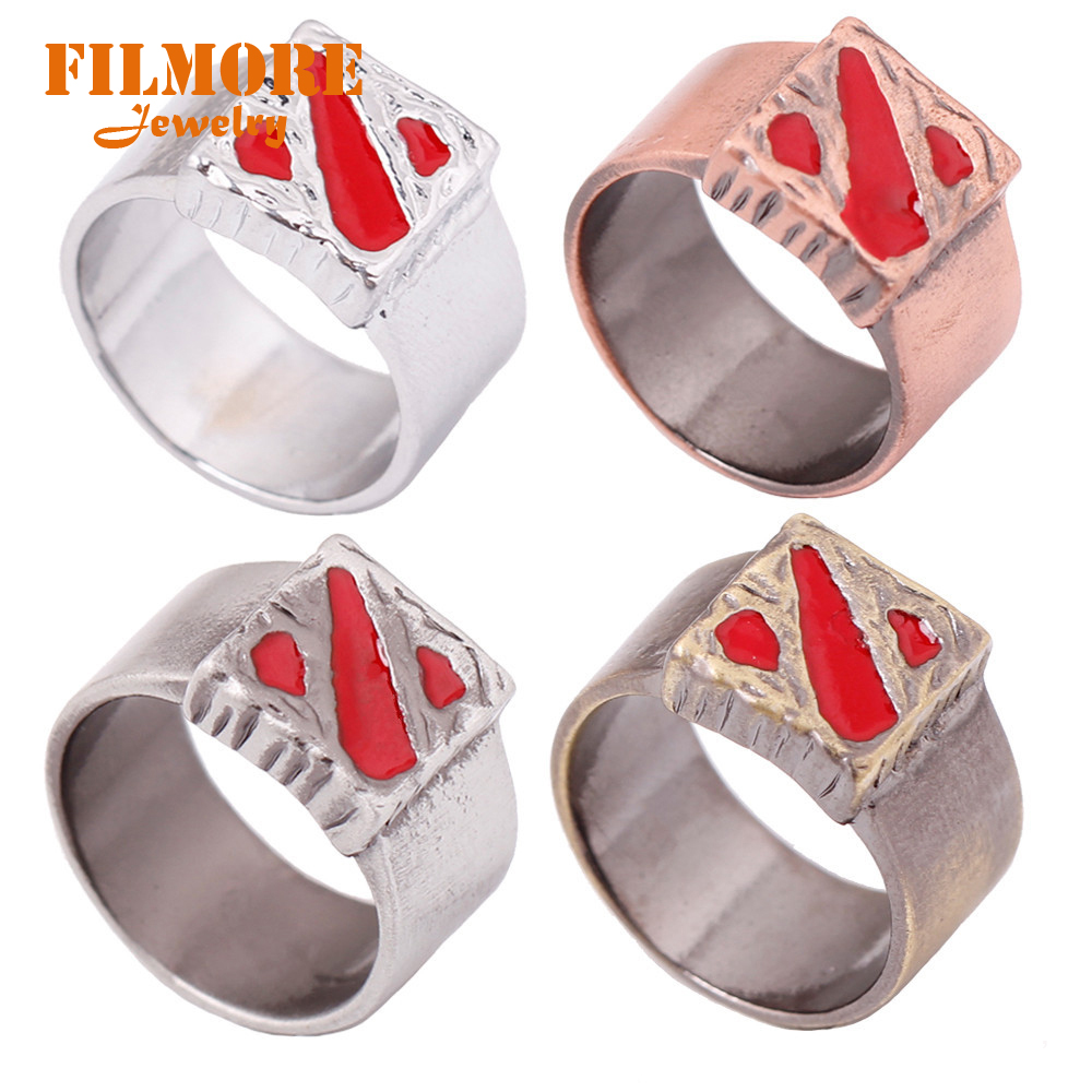 DOTA 2 Roll Back The City Metal ring Cord TP Transportation finger RING Men Collares Colar Masculino For Best Friend
