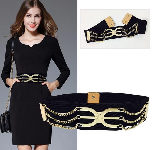 2016 металл талия упругие уплотнения широкий пояс женский полые металлические украшения мода джокер черный женщины широкий эластичный пояс