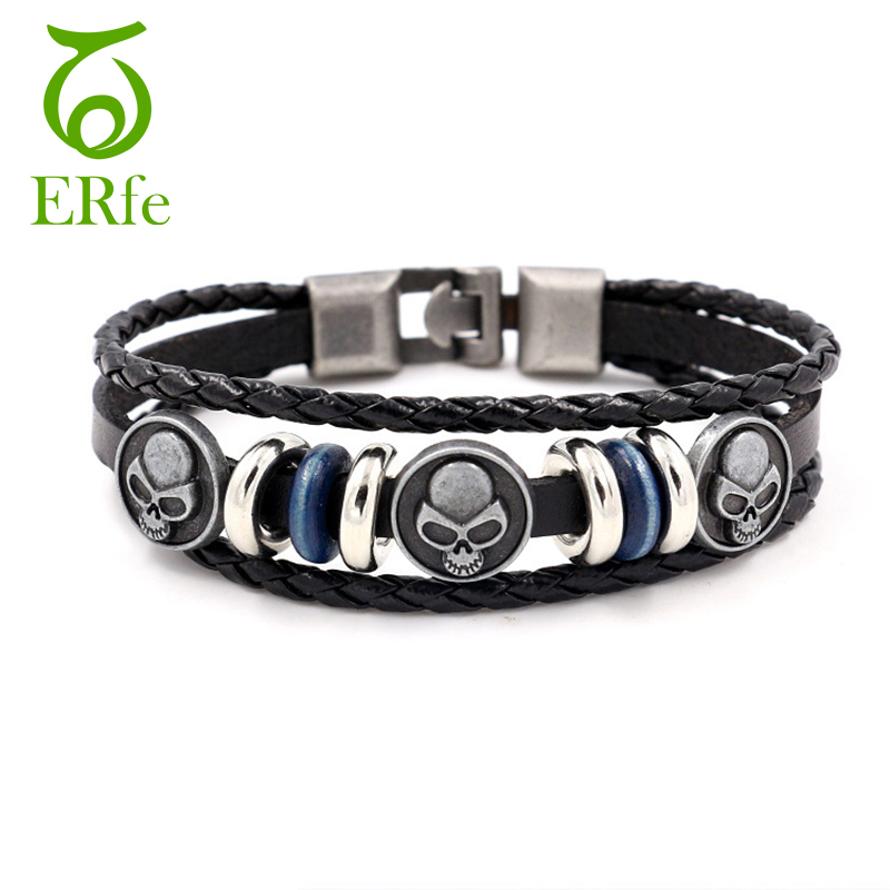 ER Punk Black Genuine Mens Leather Skull Bracelet Metallic Male Cuff Beads Braslet Women Gothic Halloween Jewelry LB248