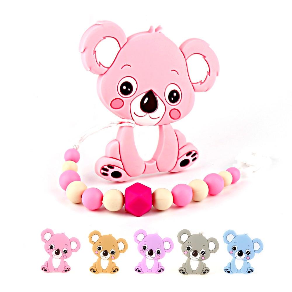 TYRY. HU Koala Massaggiagengive Silicone Dentizione Perline Ciuccio In Silicone Catena BabyTeethers Dentizione Giocattolo Infantile Succhietto Regalo Appena Nato