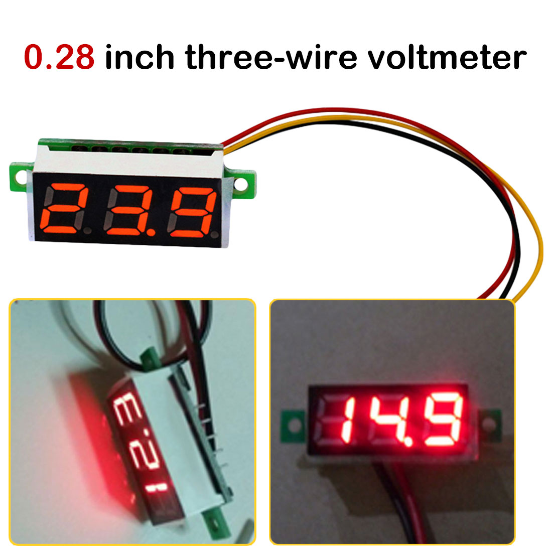 0.36 Inch DC LED Digital Voltmeter 0-100V Voltage Meter Auto Car Mobile Power Voltage Tester Detector 4-40V Red