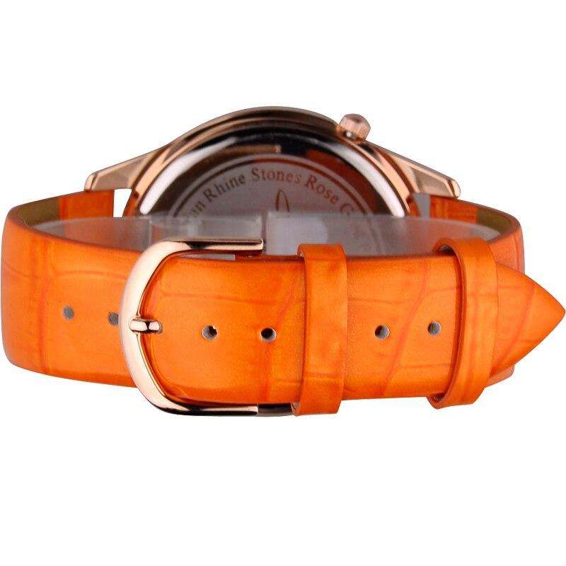 Mulheres de luxo cristal bling strass relógios mulher quartzo resistente à água relógio pulseira couro genuíno rosa senhora relógio - 4