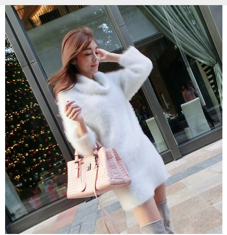 Warm color Plush mink cashmere turtleneck thickened turtleneck font b sweater b font shirt in the