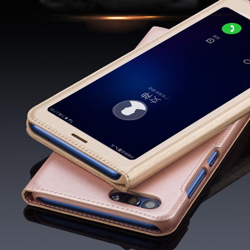 For Huawei P Smart Case 5.6 inch Open Window Flip Cover PU Leather Case for Huawei Enjoy 7S Enjoy 7 S Coque Fundas