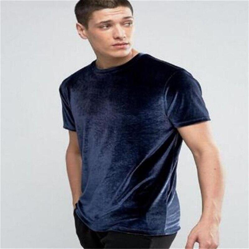 Marque 2019 De Mode T-shirt Couleur Unie décontracté mince T-shirt Hommes hip hop À La Palangre T-shirts Hommes Butin Velours T-shirts hauts PZ23
