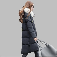 Women Winter Coat 2017 Big Fur Collar Hooded White Goose Down Jacket Fashion Medium-length Coat Large size Casual Jacket AB308