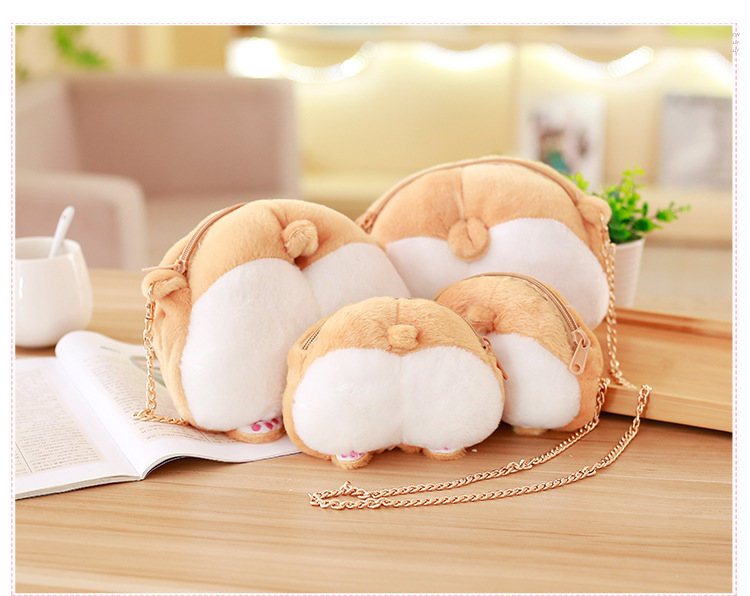 1pcs Novelty Corgi Butt CrossBody Bag Cute Creative Pet Dog Sexy Bottom Coin Bag  Stuffed Plush Animal Toy for Kids Gift (7)