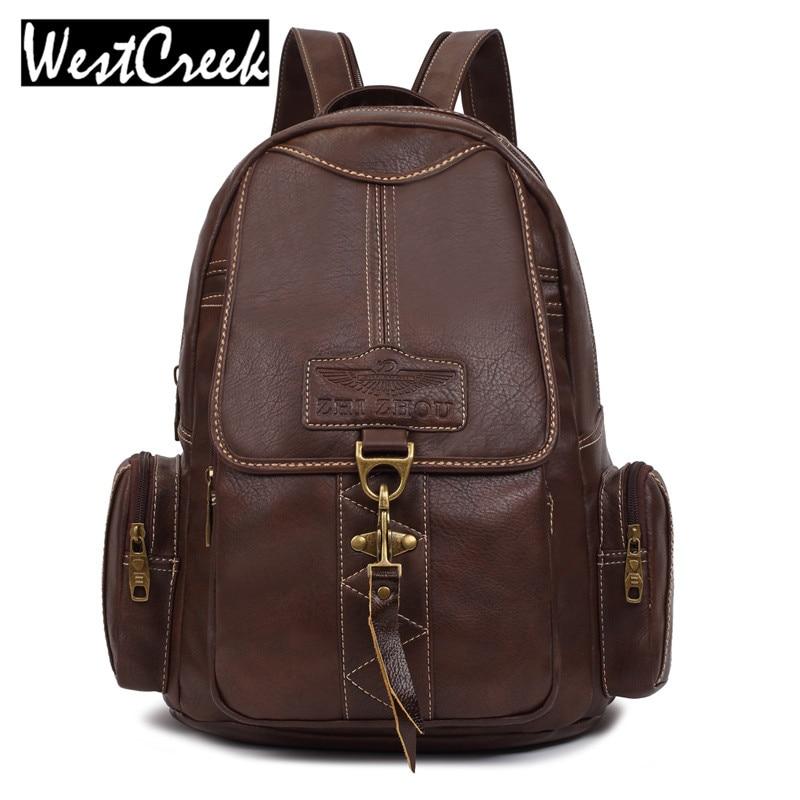 Westcreek Brand Designers Brown Woman Backpack Fashion PU Leather College Student School backpack Bags Vintage Ladies