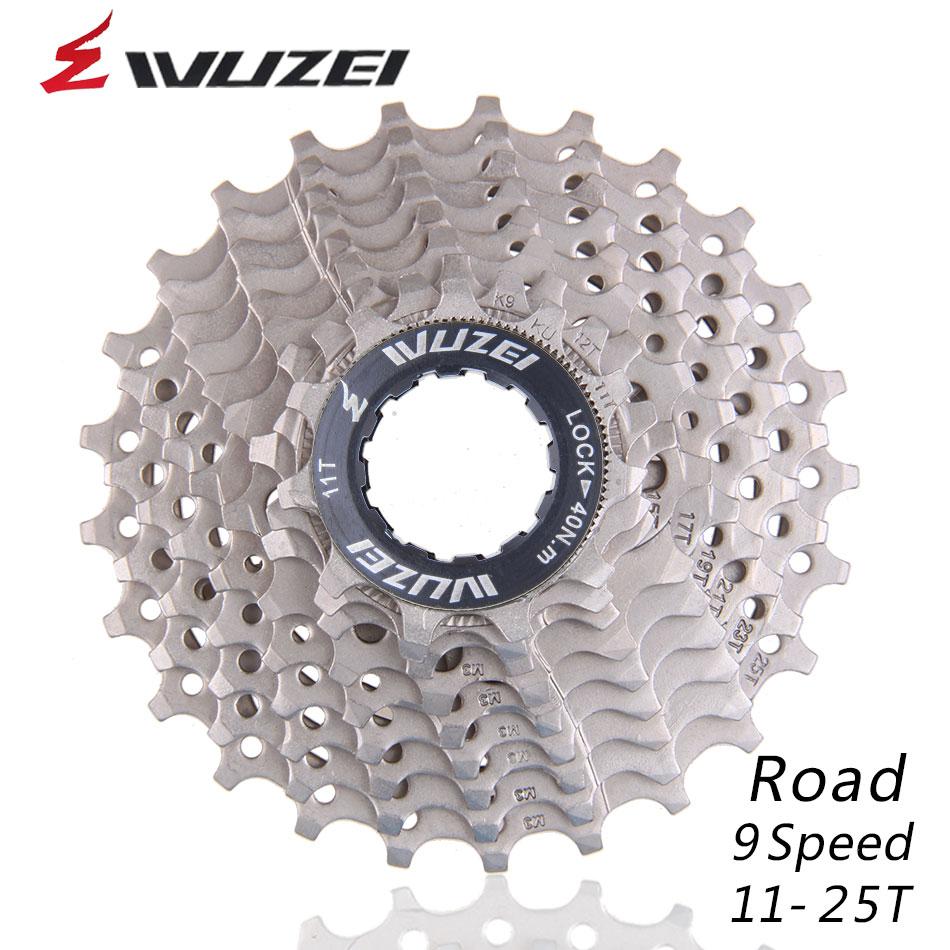 WUZEI 9 S 11-25T roues libres route vélo volant en acier 9 vitesses Cassette pignon 11-25T Compatible pour pièces 3300 3500 R3000